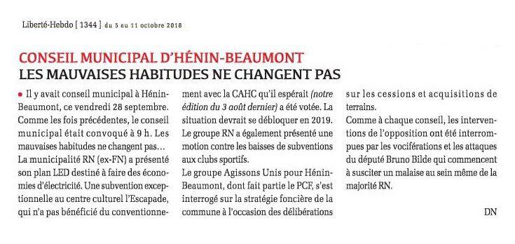 Conseil municipal d'Hénin-Beaumont : les mauvaises habitudes ne changent pas