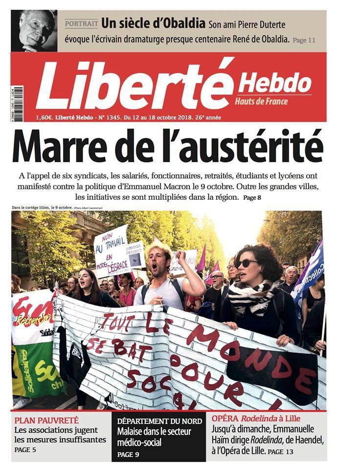 A la une de Liberté Hebdo n°1345