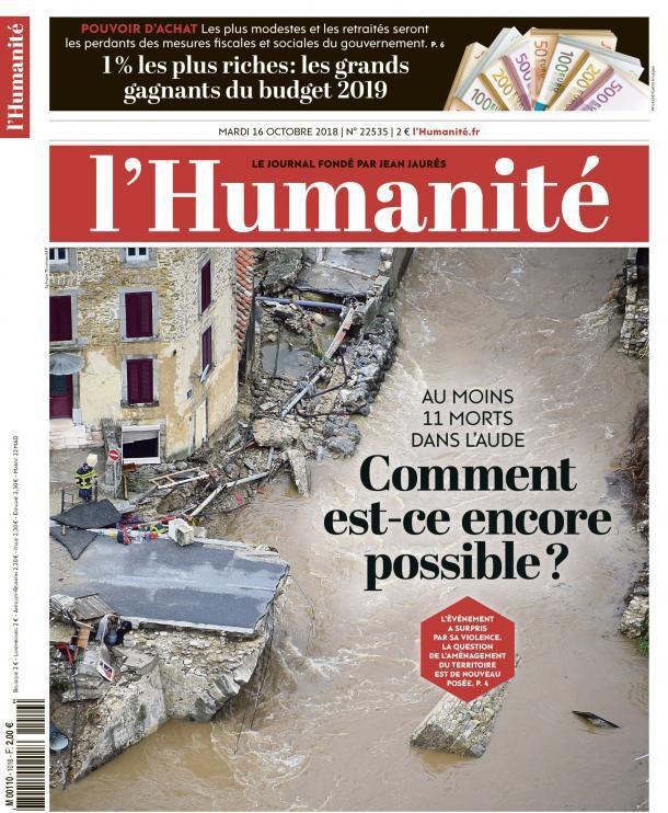 A la une de l'Humanité (16-10-18)