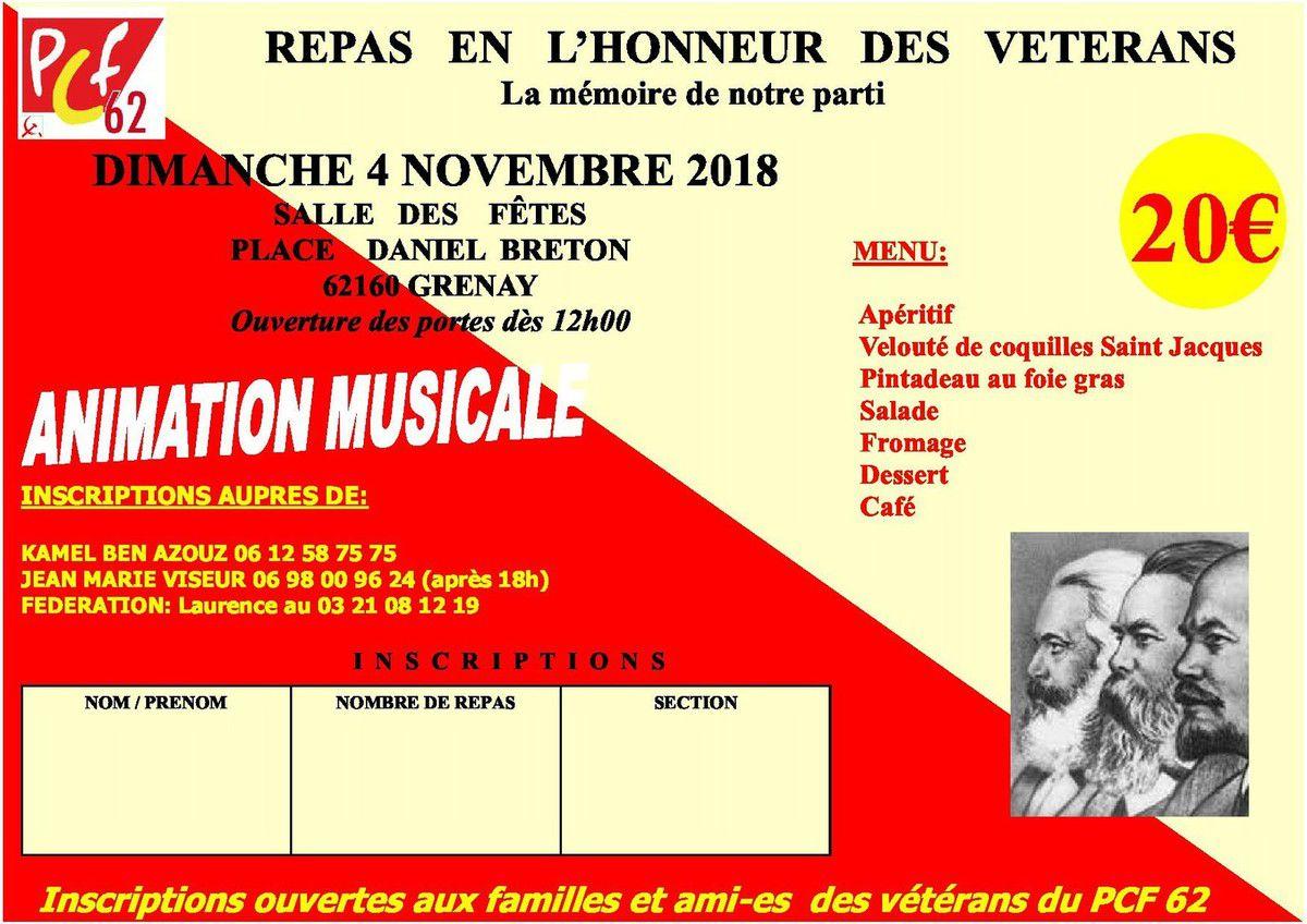 Le repas des vétérans de la fédération PCF 62 aura lieu le 4 novembre à Grenay
