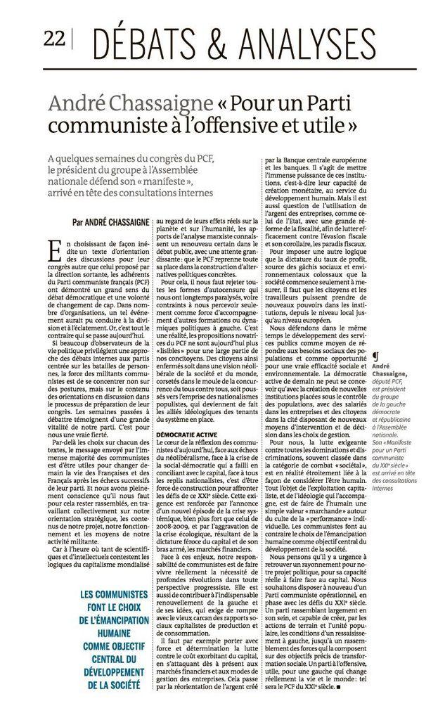 """André Chassaigne : """"Pour un Parti communiste à l'offensive et utile"""""""