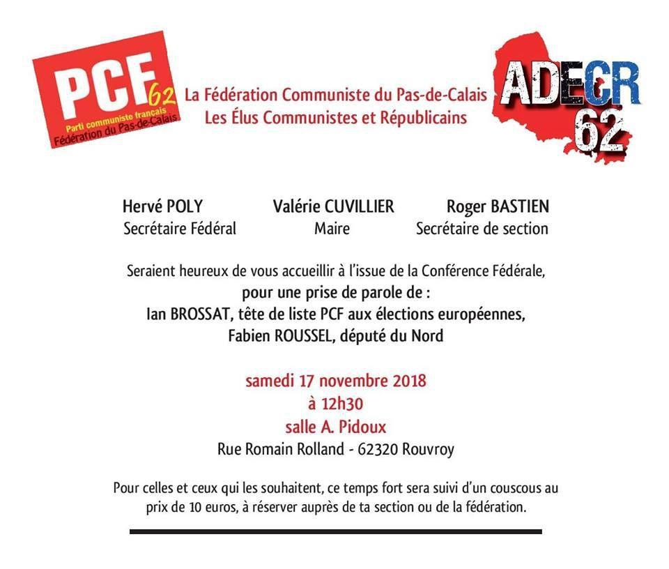 38ème Congrès du Parti communiste : Ian Brossat interviendra en clôture de la conférence fédérale de Rouvroy le 17 novembre