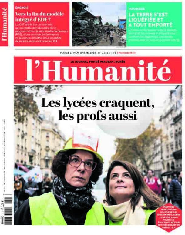 A la une de l'Humanité (13-11-18)
