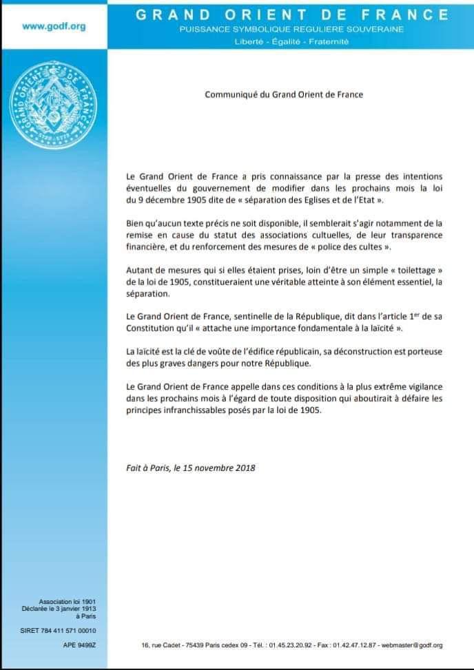 Menaces sur la loi de séparation de 1905 : le communiqué du Grand Orient De France
