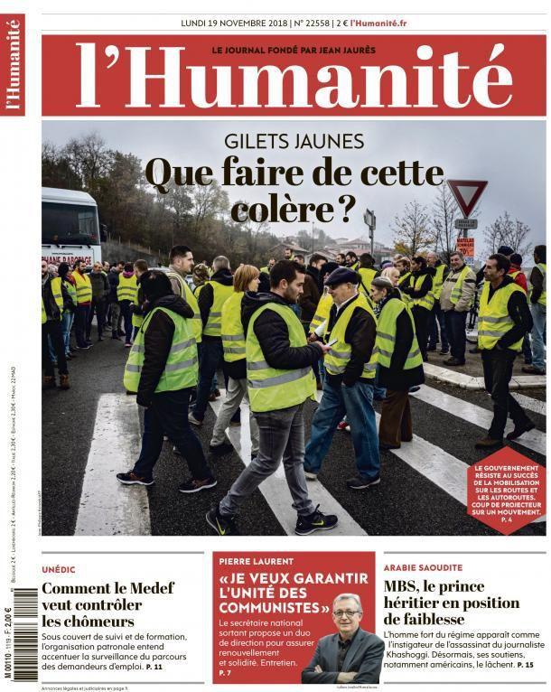A la une de l'Humanité (19-11-18)
