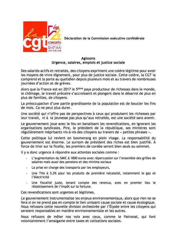 Déclaration de la Commission exécutive confédérale de la CGT : Agissons. Urgence, salaires, emplois et justice sociale.