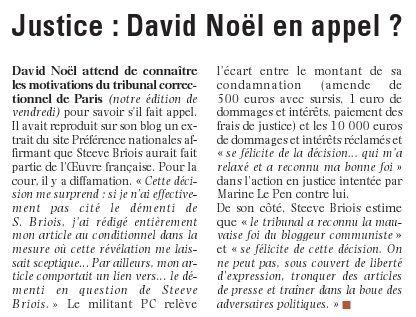 Justice : David Noël en appel ?