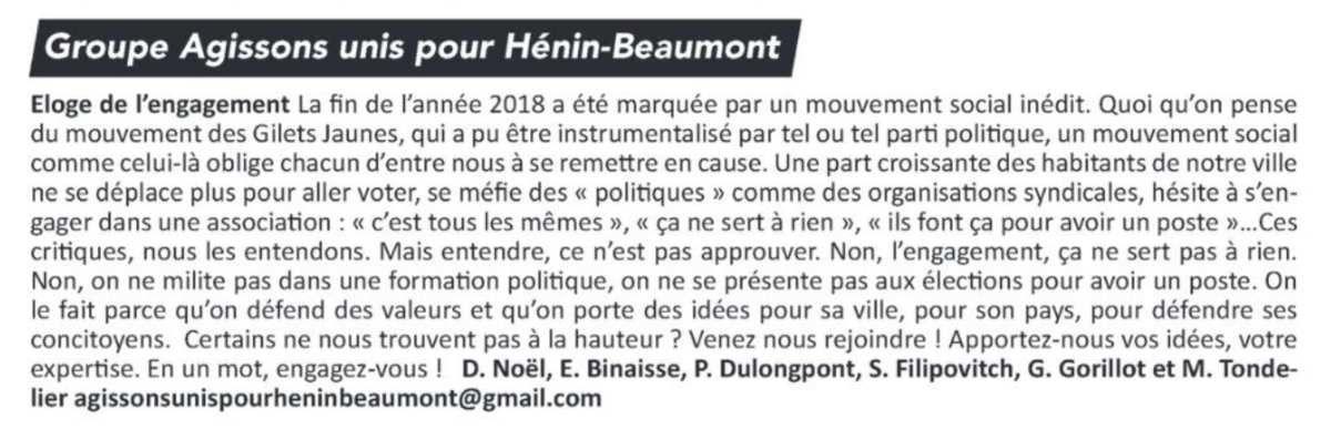 La tribune libre de l'opposition (Hénin-Beaumont c'est vous n°51, janvier 2019)