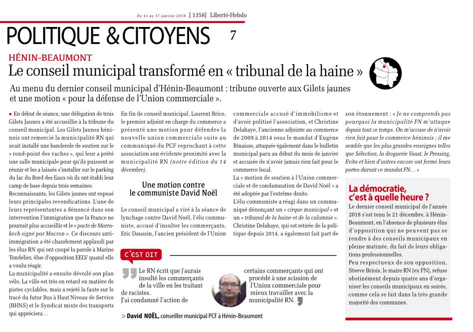 """Hénin-Beaumont : le conseil municipal transformé en """"tribunal de la haine"""""""