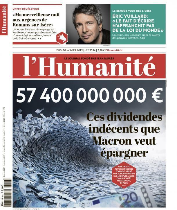 A la une de l'Humanité (10-01-19)