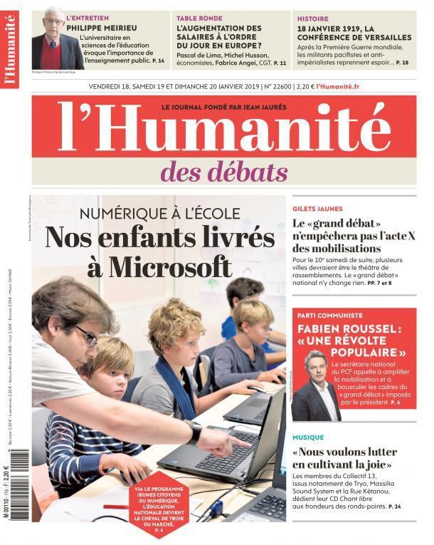 A la une de l'Humanité (18-01-19)