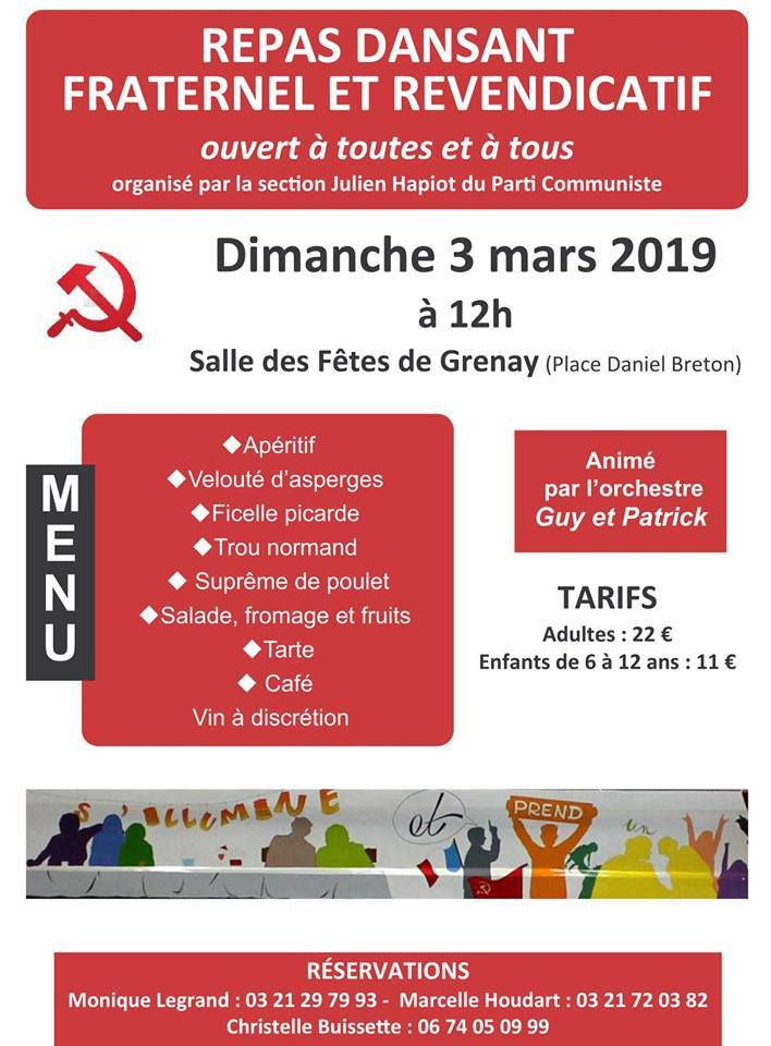 La section communiste de Grenay organise son banquet de section le 3 mars