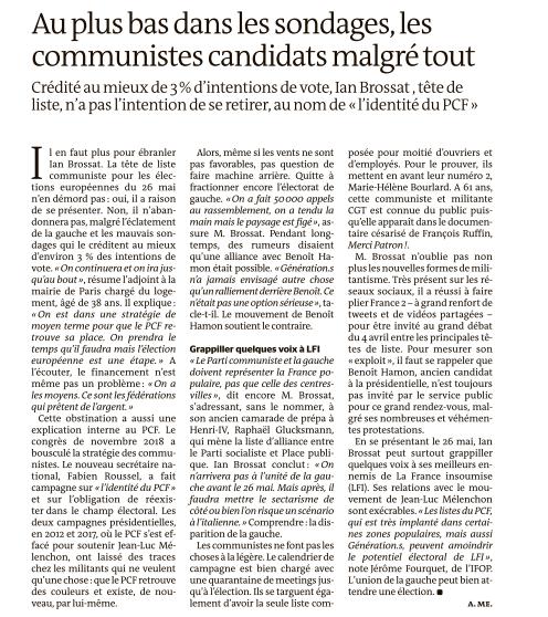Au plus bas dans les sondages, les communistes candidats malgré tout