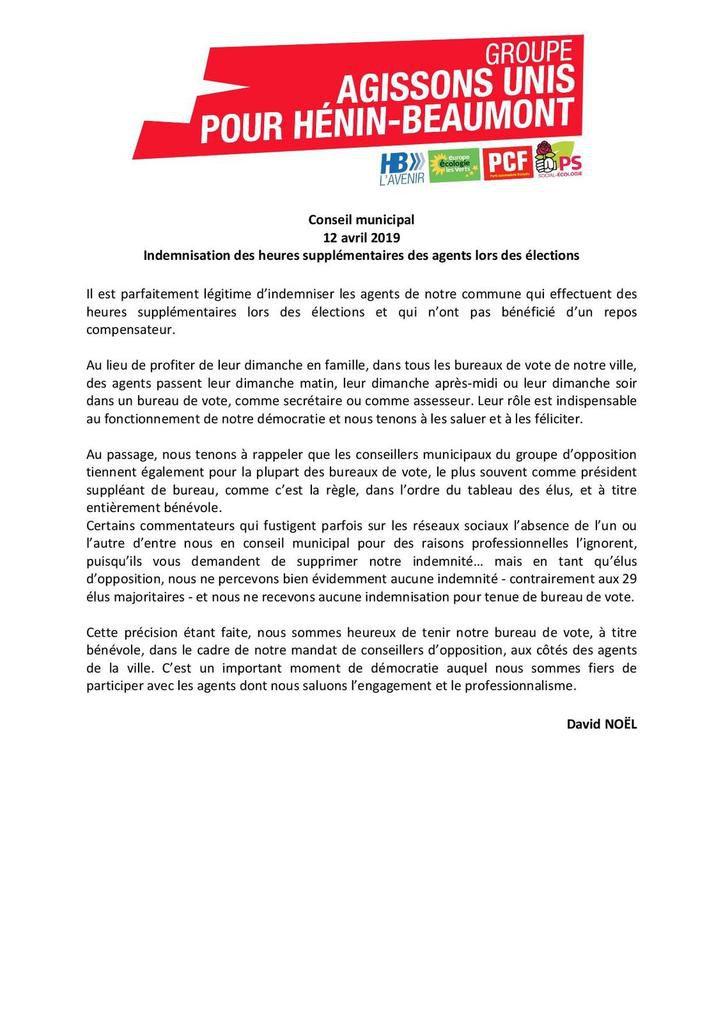 Conseil municipal du 12 avril 2019 : mon intervention sur l'indemnisation des heures supplémentaires des agents lors des élections