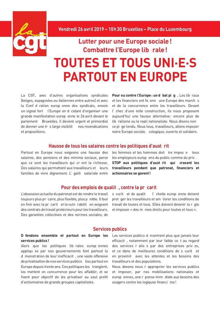 Euro manifestation du 26 avril à Bruxelles : le tract de la CGT