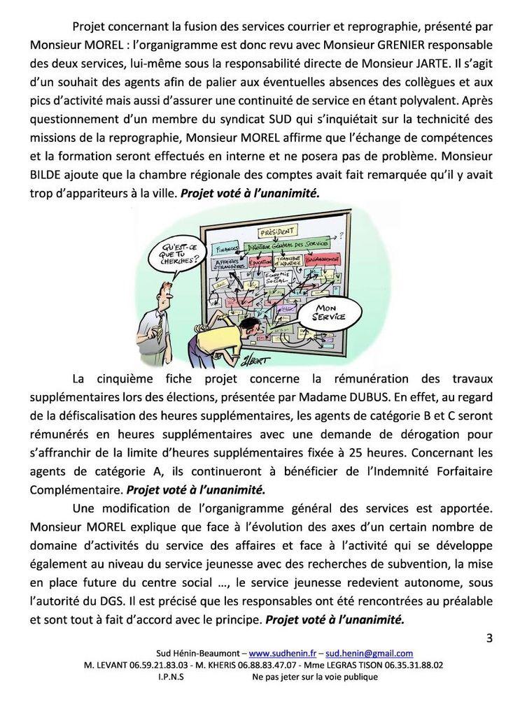 Comité technique de la ville d'Hénin-Beaumont : le compte-rendu de SUD Collectivités Territoriales