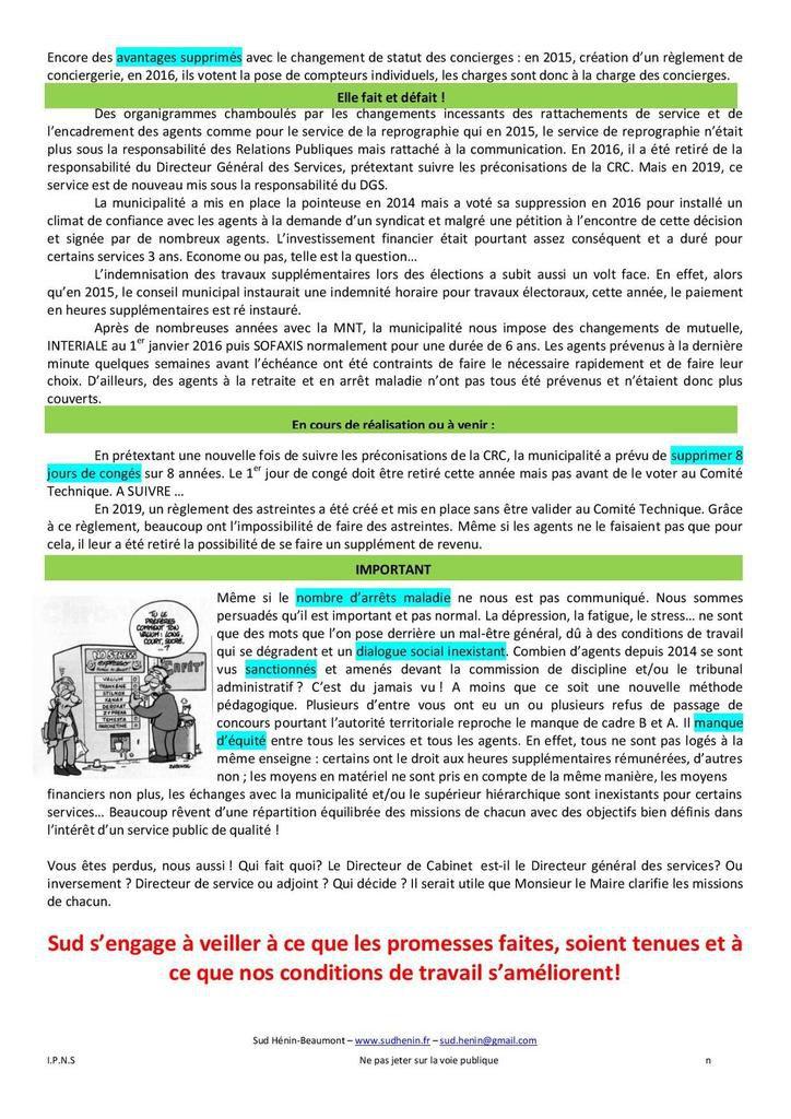 Le nouveau tract de SUD Collectivités Territoriales Hénin-Beaumont est accablant pour le RN