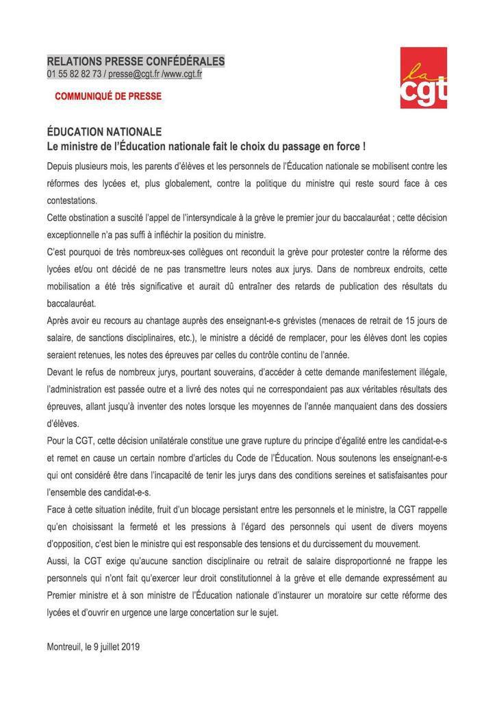 Education nationale : Le ministre de l'Éducation nationale fait le choix du passage en force !