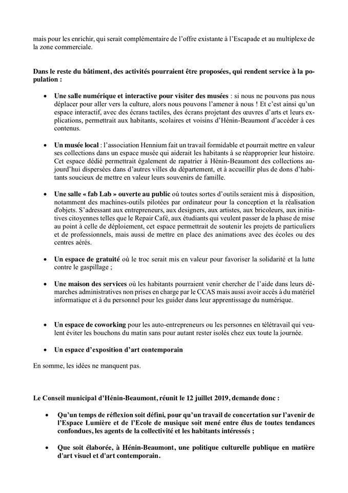 Conseil municipal du 19 juillet 2019 : notre motion sur le devenir de l'école de musique et de l'Espace Lumière