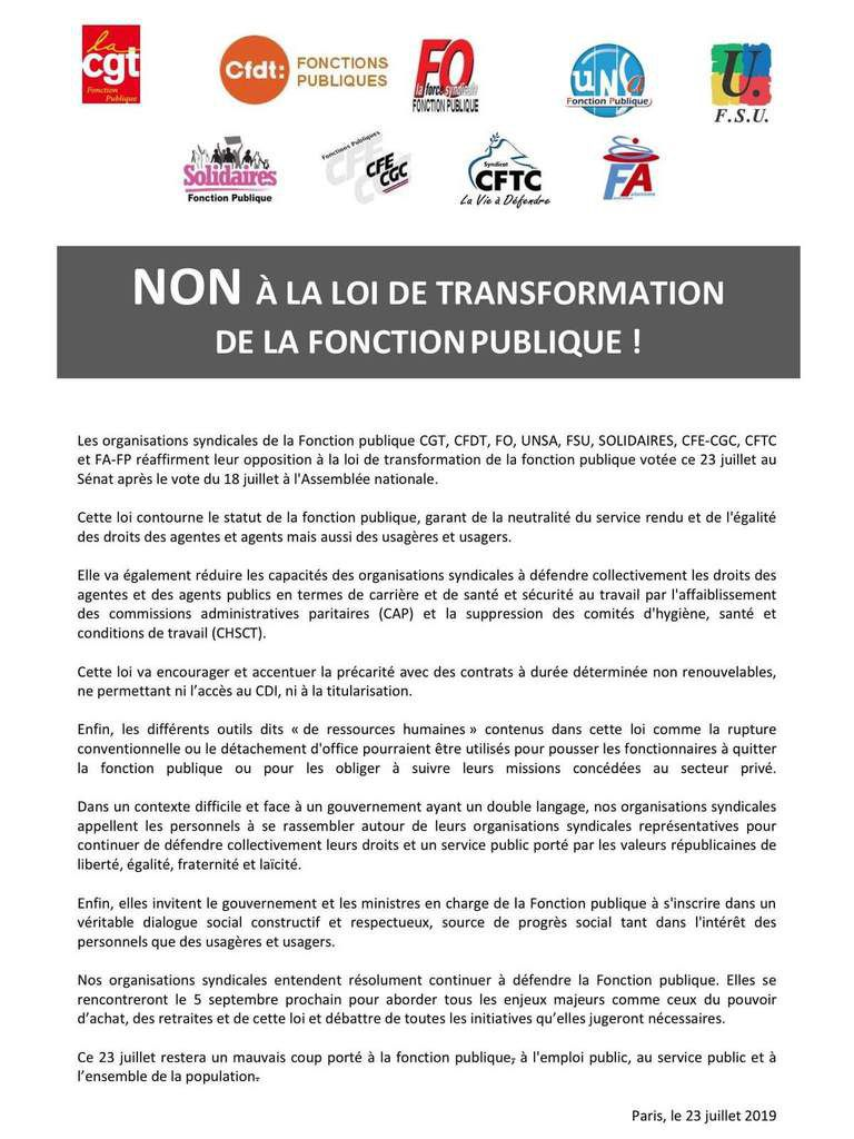 Non à la loi de transformation de la fonction publique !