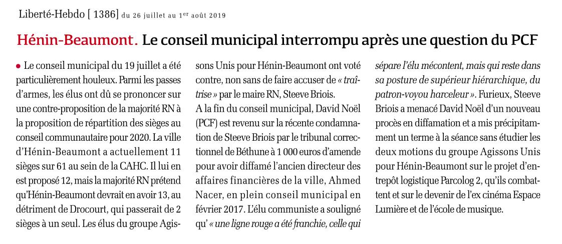 Hénin-Beaumont : Le conseil municipal interrompu après une question du PCF