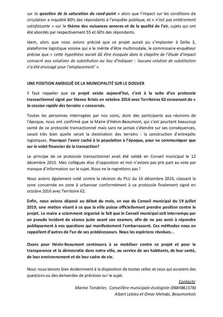 Réaction d'Osons pour Hénin-Beaumont à la publication du rapport du commissaire enquêteur sur le projet Parcolog 2