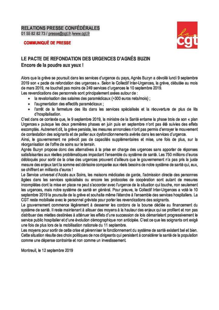 Le pacte de refondation des urgences d'Agnès Buzin : Encore de la poudre aux yeux !