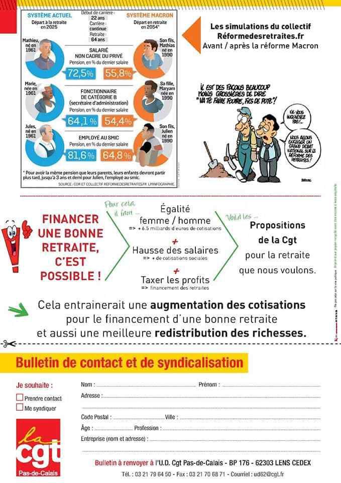Réforme des retraites : le tract de l'Union départementale CGT 62