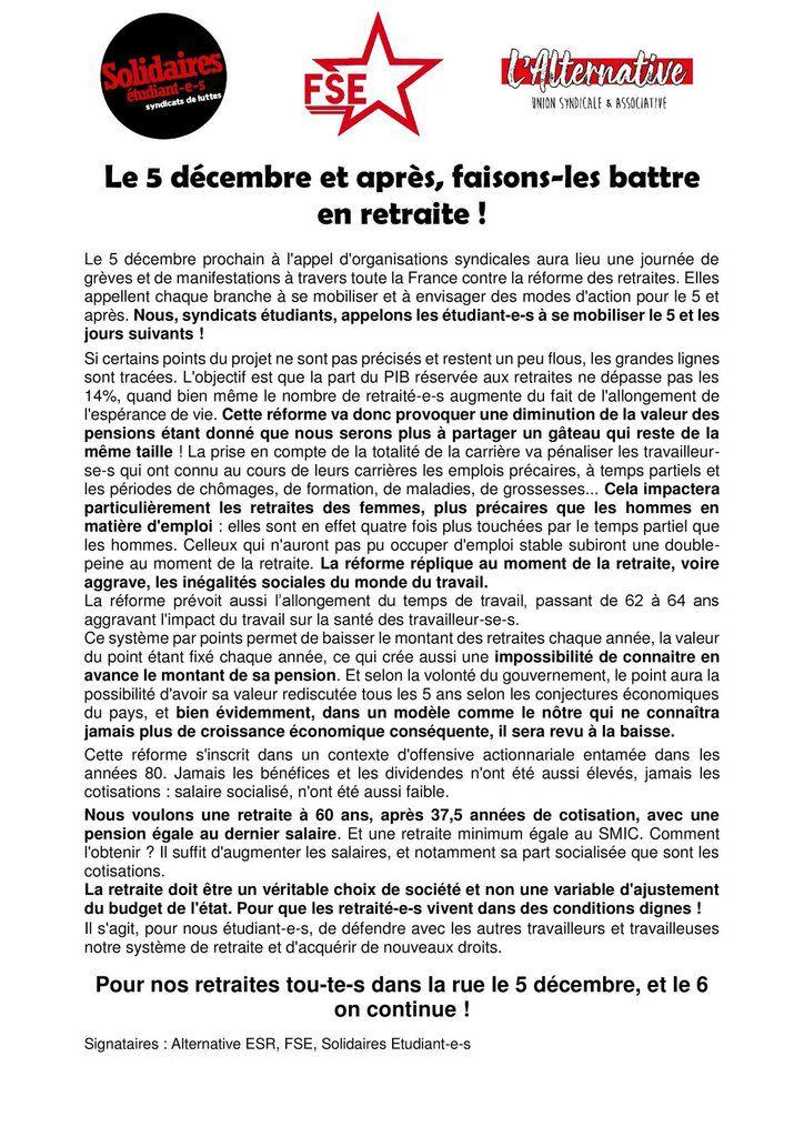 Le 5 décembre et après, faisons-les battre en retraite !