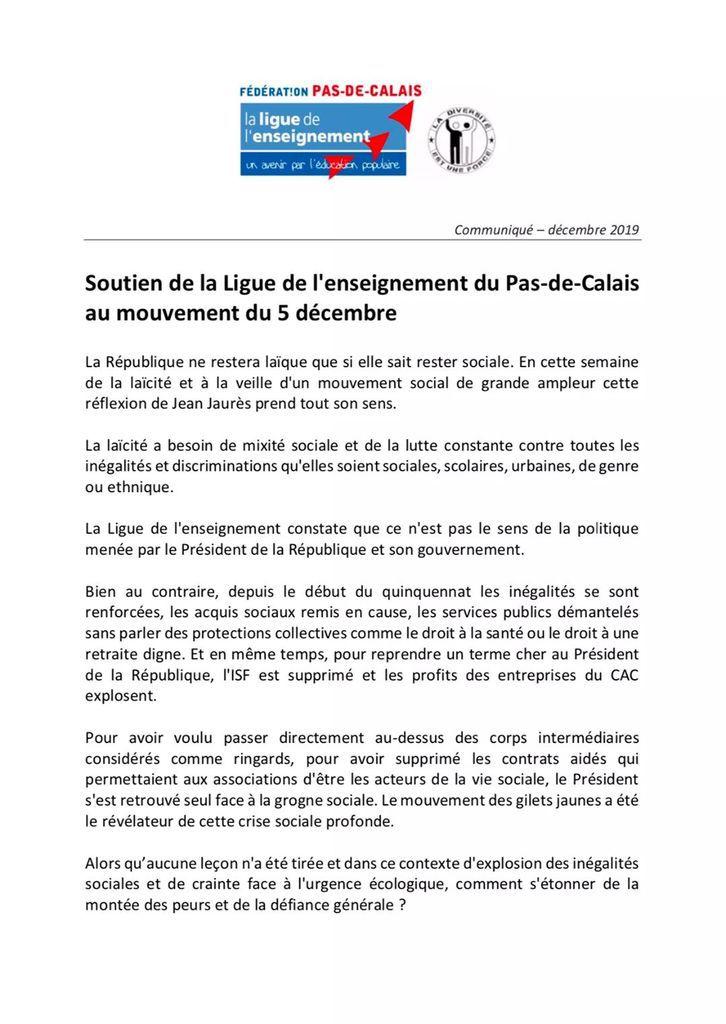 La Ligue de l'enseignement du Pas-de-Calais soutient la mobilisation du 5 décembre contre la réforme des retraites