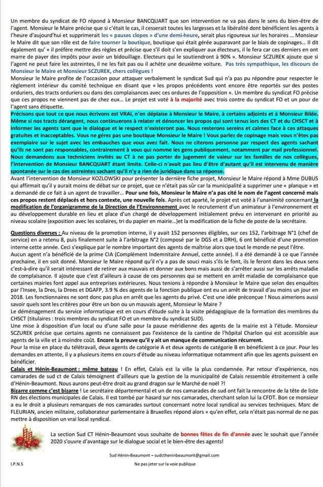 Compte-rendu du Comité Technique : Le nouveau tract de SUD Collectivités Territoriales Hénin-Beaumont