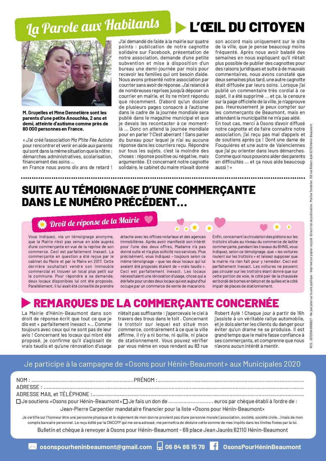 Le cinquième numéro de l'autre journal d'informations d'Osons pour Hénin-Beaumont