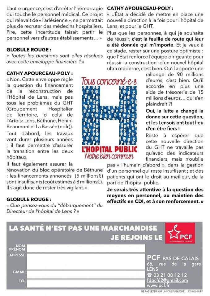 Le nouveau numéro de Globule Rouge, le journal de la santé du PCF 62, est en ligne
