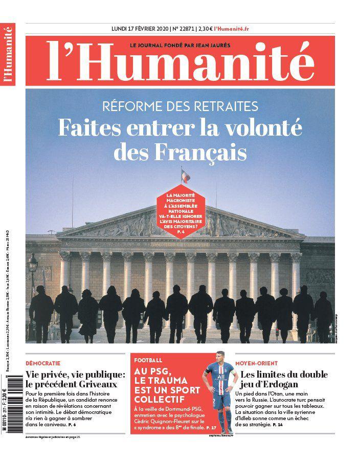 A la une de l'Humanité (17-02-20)