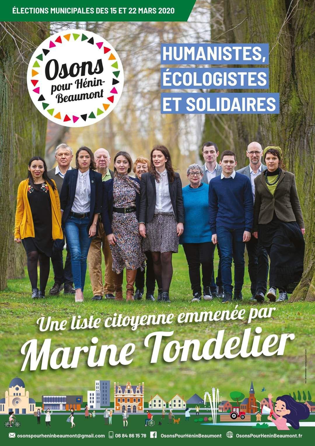 Elections municipales 2020 : l'affiche officielle d'Osons pour Hénin-Beaumont