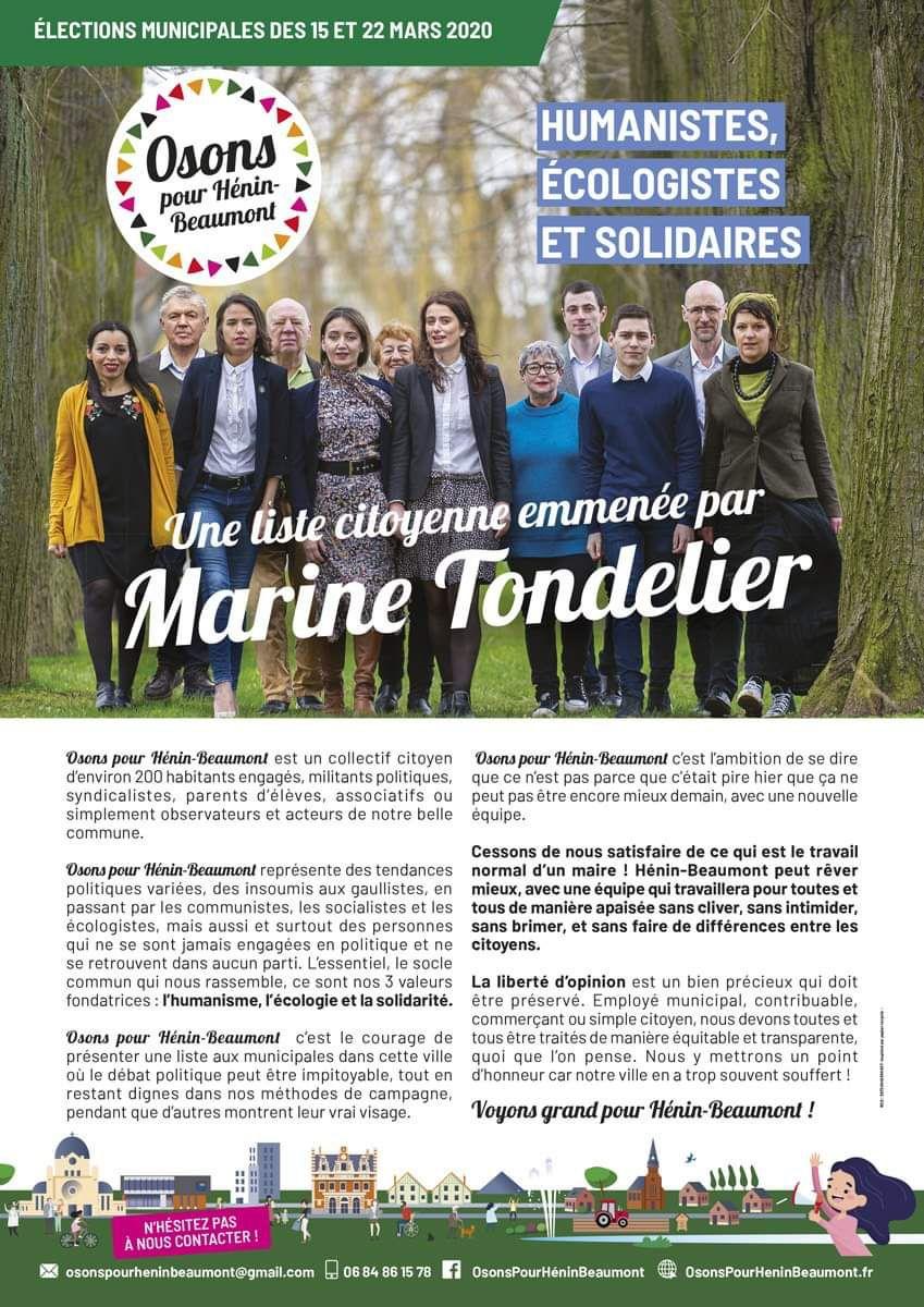 Elections municipales 2020 : la profession de foi d'Osons pour Hénin-Beaumont