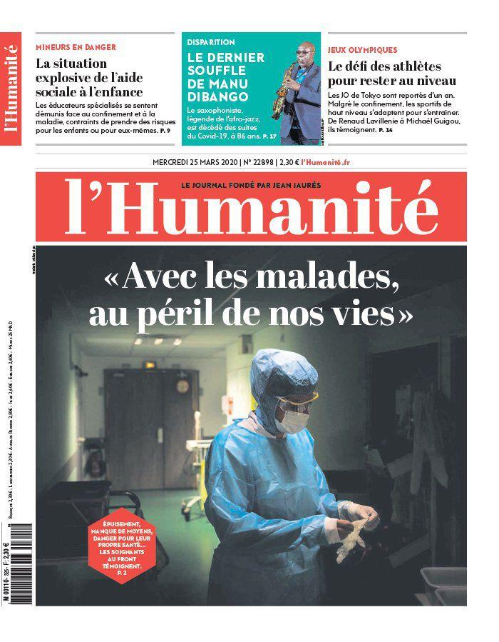 A la une de l'Humanité (25-03-20)