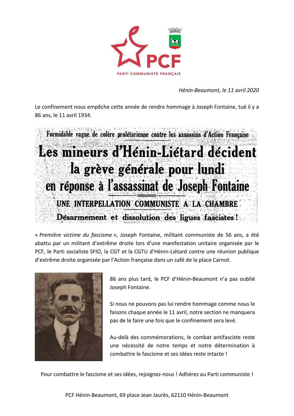 86ème anniversaire de la mort de Joseph Fontaine