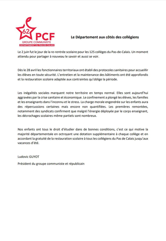 La tribune du groupe communiste au Conseil départemental du Pas-de-Calais (juin 2020)