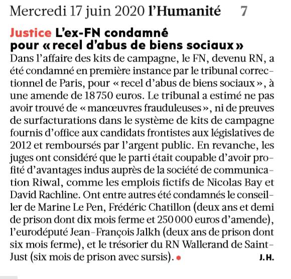 """L'ex-FN condamné pour """"recel d'abus de biens sociaux"""""""