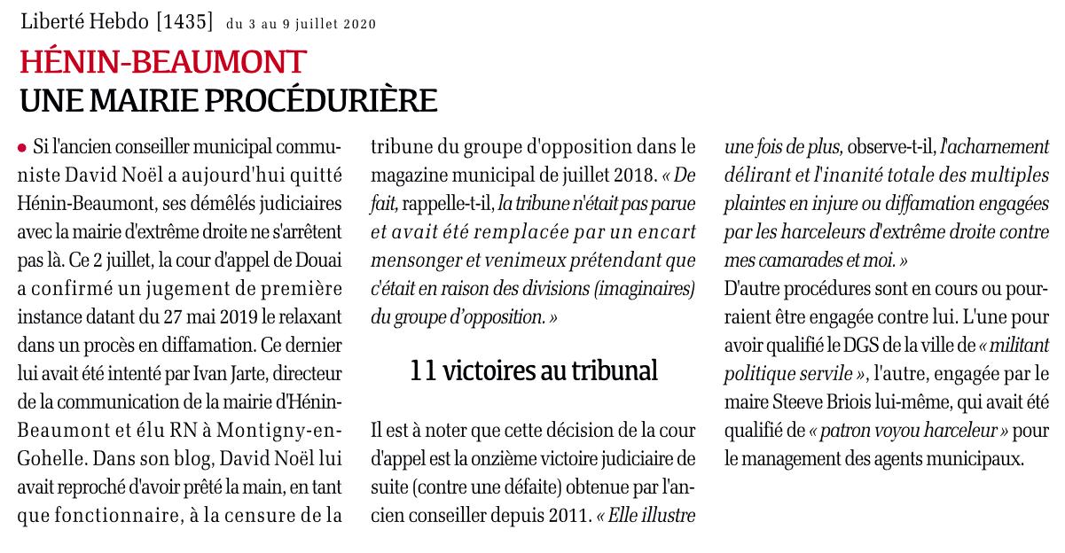 Hénin-Beaumont : une mairie procédurière