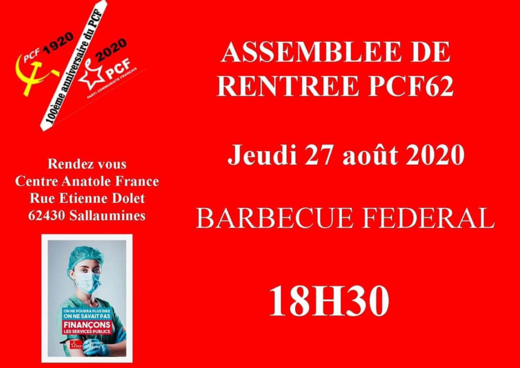 L'assemblée de rentrée de la Fédération communiste du Pas-de-Calais aura lieu le 27 août à Sallaumines