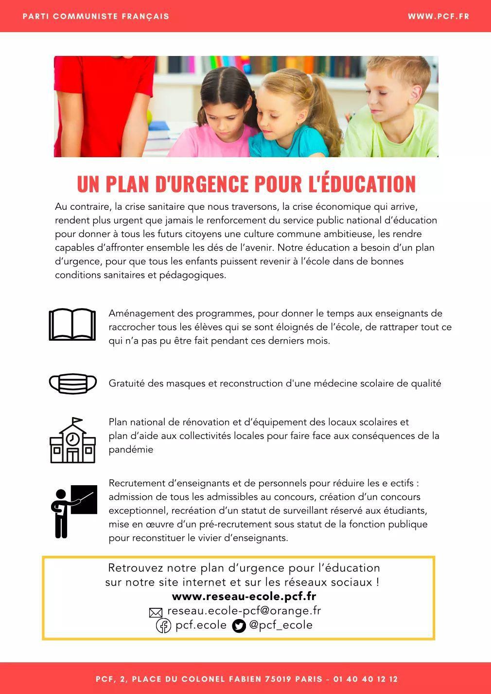 Rentrée 2020 : le tract du réseau école du PCF