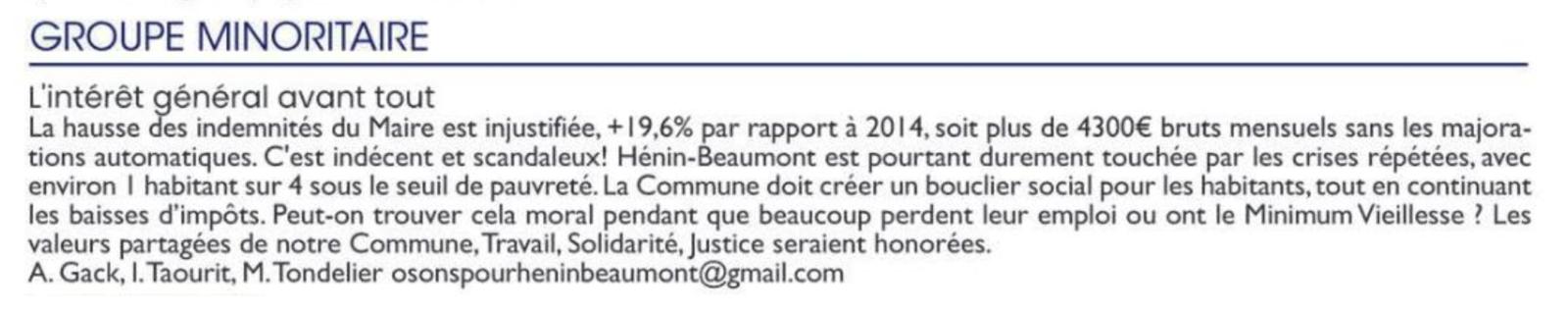 La tribune libre de l'opposition (Hénin-Beaumont c'est vous n°68, août 2020)