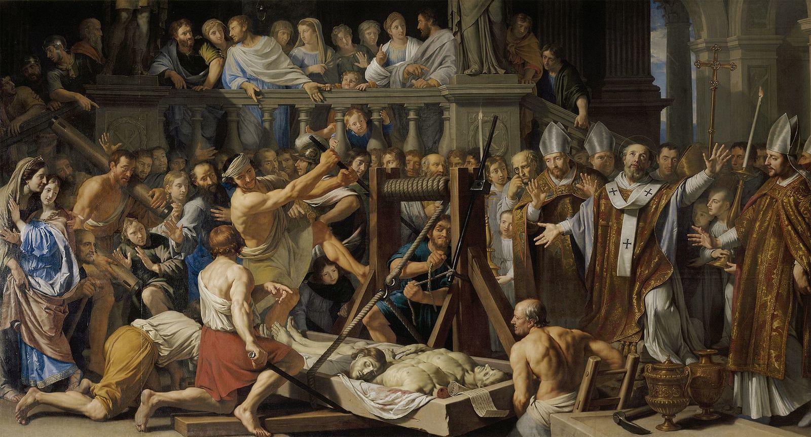 Découverte des corps de Saint Gervais et Saint Protais. Tableau de Philippe de Champaigne