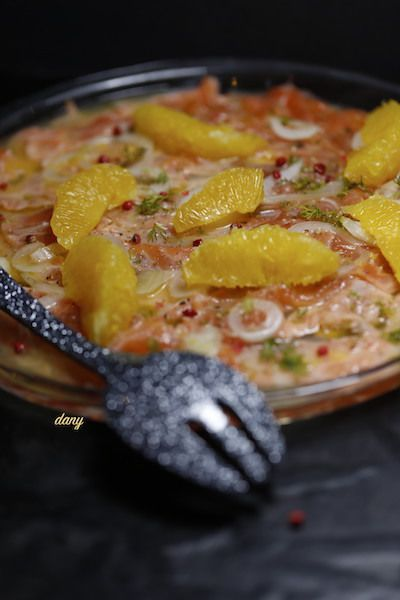 CARPACCIO DE SAUMON MARINÉ À L'ORANGE