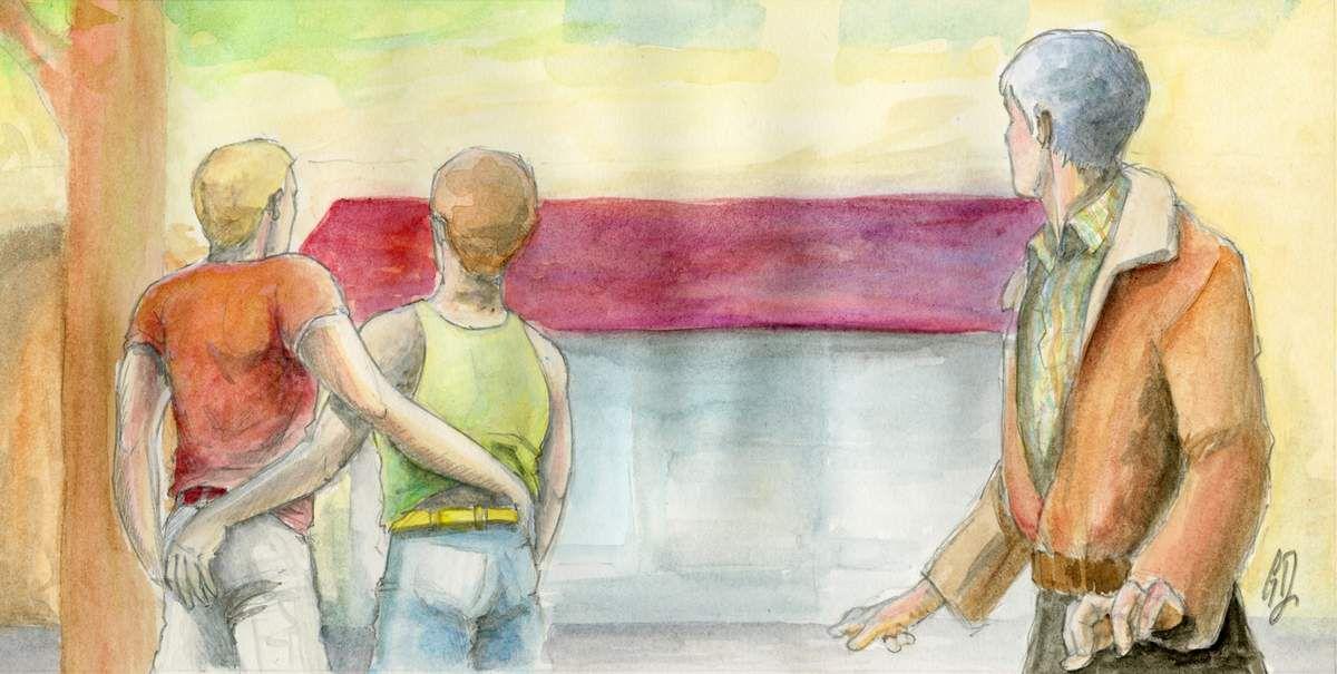 Un homme regarde avec envie un couple gay se tenir la main