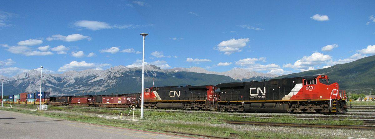 Train de fret en gare de Jasper dans les Montagnes Rocheuses (Province de l'Alberta) au Canada en juillet 2008.