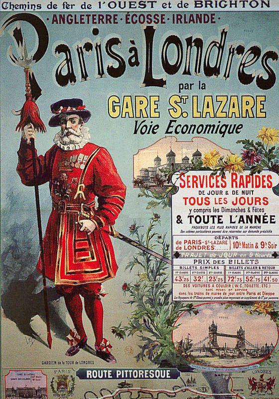 Ancienne publicité des Chemins de Fer de l'Ouest pour la liaison Paris-Londres.