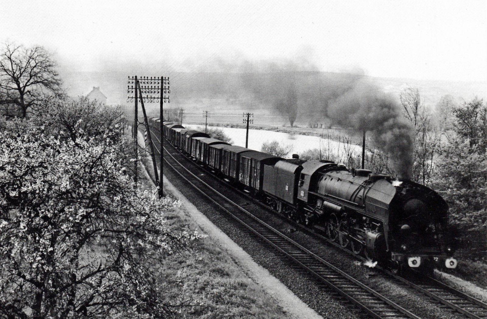 141 R en tête d'un marchandises dans la vallée de la Marne près de Dormans vers 1955.